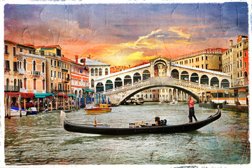 Fototapeta Mosty Venetian sunset, artwork in panting style
