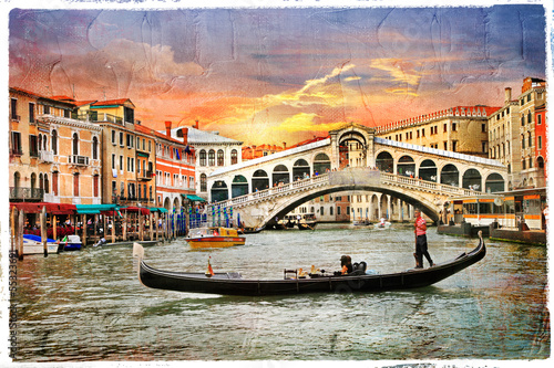 Poster Venice Venetian sunset, artwork in panting style