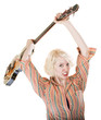Lady Throwing a Guitar