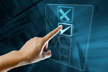 A Woman Hand Make A Choice On A Digital Screen