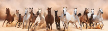 A Herd Of Horses Running On The Sand Storm