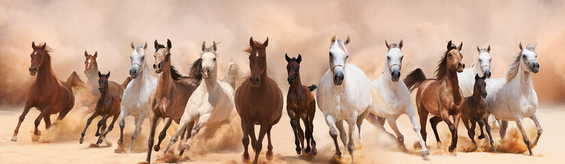 Fototapeta na wymiar A herd of horses running on the sand storm