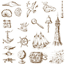 Nautical Sea Design Elements - For Scrapbook And Design