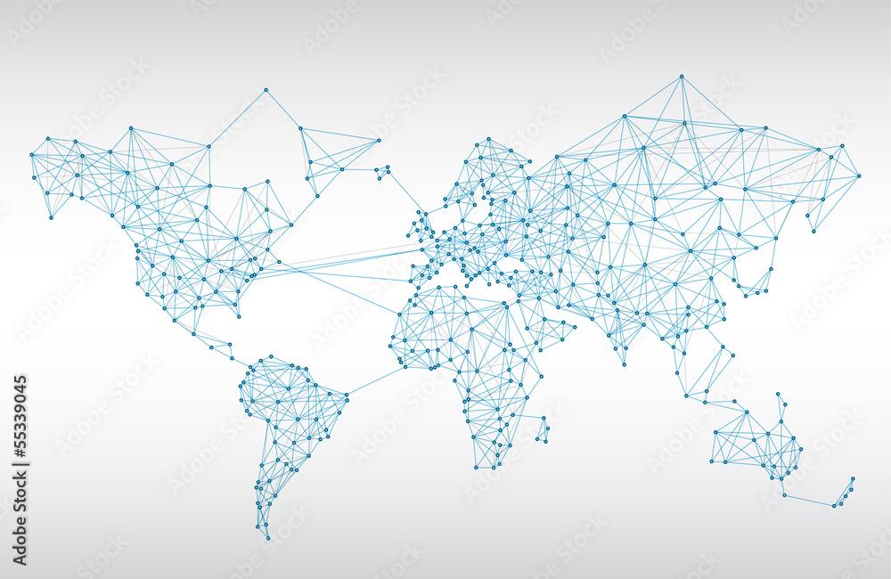 Fototapety, obrazy: Abstract telecommunication world map