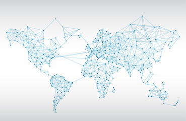 Fototapeta samoprzylepna Abstract telecommunication world map