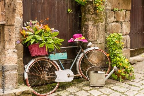 Aluminium Prints Bicycle Town of Dinan, Brittany, France