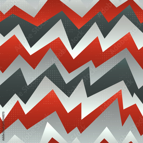 Deurstickers ZigZag abstract red zigzag seamless pattern with grunge effect