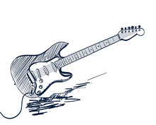 Hand Drawn Electric Guitar On ...