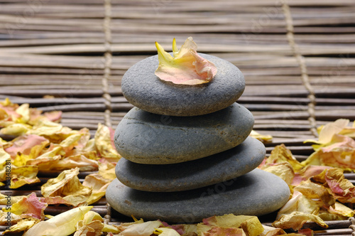 Poster Spa Spa composition of stones and yellow ranunculus petals