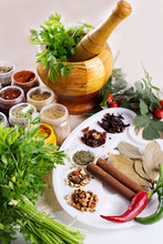 Mix Of Fresh Herbs, Spices And Oil