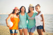Multiethnic Group of Girls at Beach