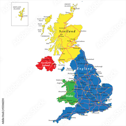 Fotomural England,Scotland,Wales and North Ireland map