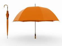 3d Illustration Two Orange Umbrellas On A White
