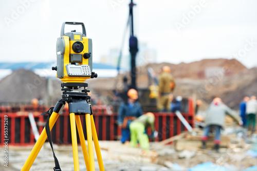 Fotografie, Obraz  surveyor equipment theodolite at construction site
