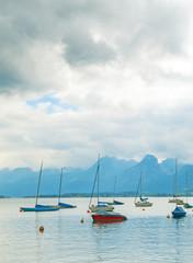 Fototapeta Rzeki i Jeziora Boats on Lake
