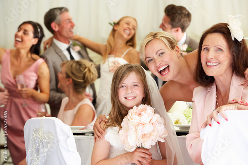 Bride With Grandmother And Bridesmaid At Wedding Reception Fototapeta