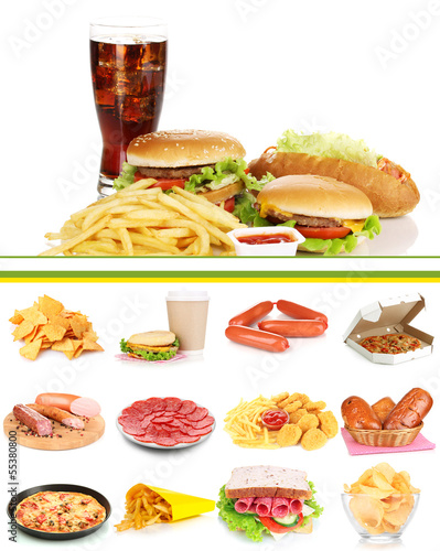 Collage of  unhealthy food © Africa Studio