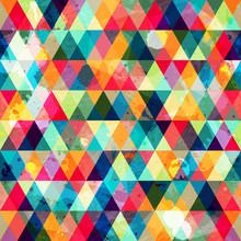 Grunge Colored Triangle Seamle...