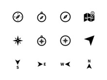 Compass Icons On White Backgro...