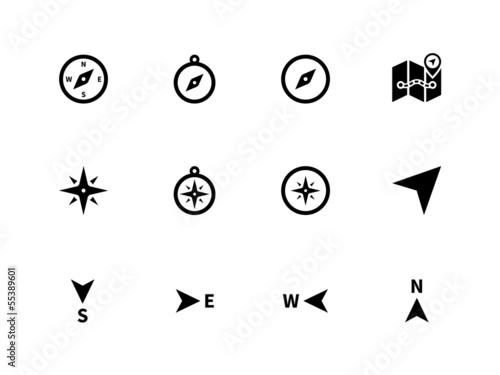 Fotografija Compass icons on white background.