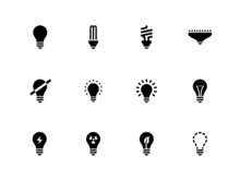 Light Bulb And CFL Lamp Icons On White Background.
