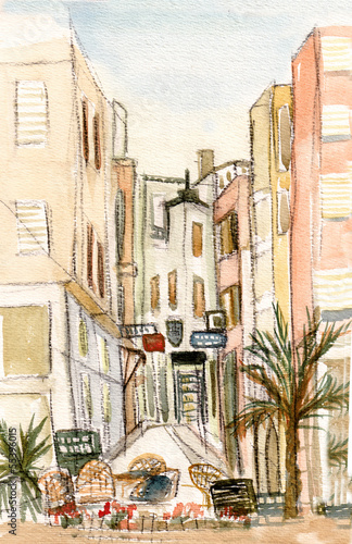Foto auf AluDibond Gezeichnet Straßenkaffee Small town Loret-de-Mar