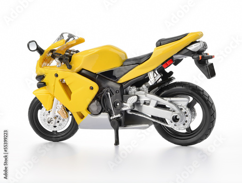 Poster Motocyclette Yellow motorcycle on white background