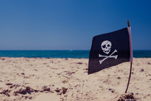Pirate Flag On The Beach