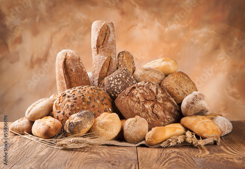Fresh bread on wood
