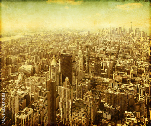 New York City Manhattan aerial view. Grunge and retro style.