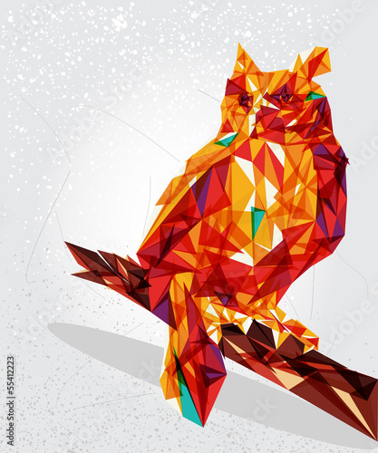 Animaux geometriques Owl bird geometric illustration.