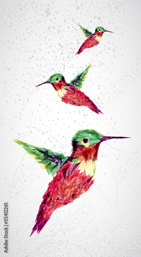 Door stickers Geometric animals Humming bird geometric illustration.