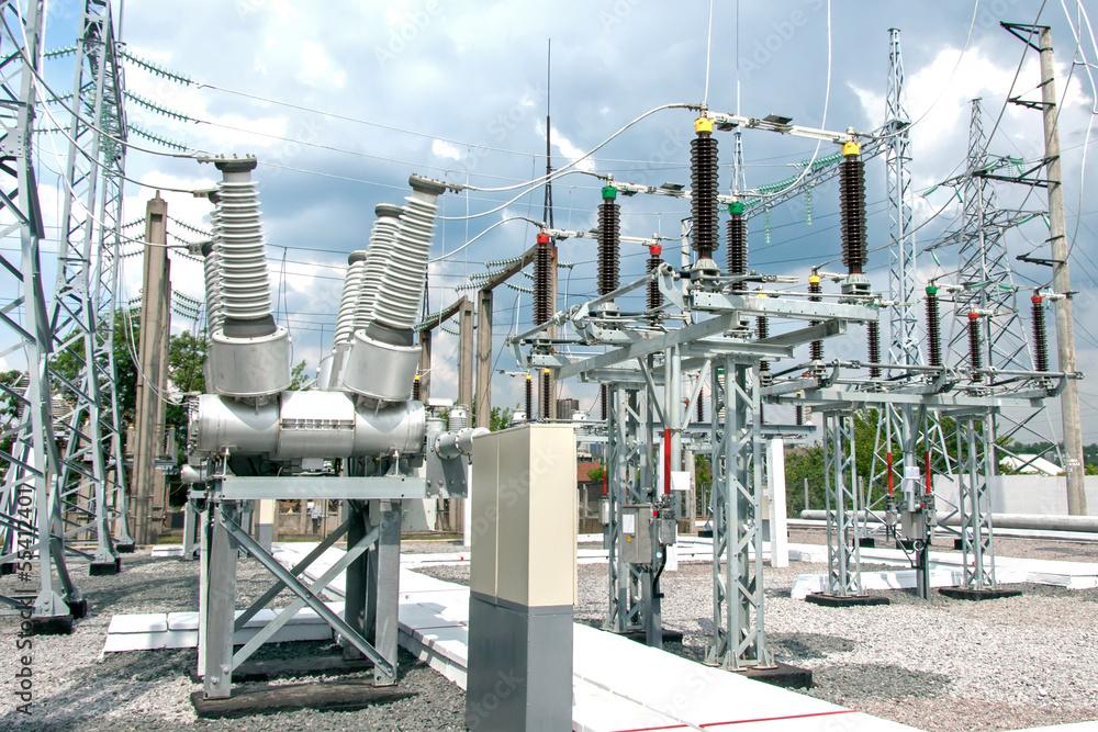 Fototapeta Electric power substation