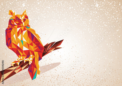 Foto auf Gartenposter Geometrische Tiere Colorful Owl bird triangle art background illustration