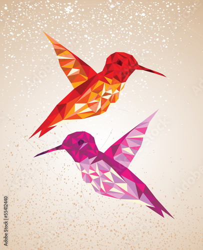 Door stickers Geometric animals Colorful humming birds art background illustration.
