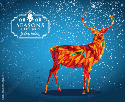 Poster Geometric animals Merry Christmas reindeer shape.