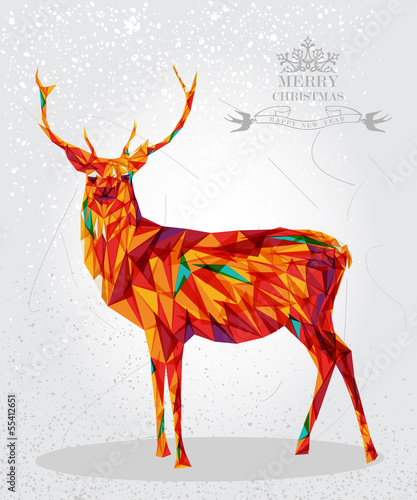 Poster Geometric animals Merry Christmas colorful reindeer shape.