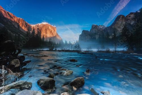 Photo  Sunset at Valley View, Yosemite National Park