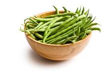 Fresh Green Beans In Wooden Bowl
