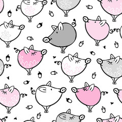 Funny pigs family, seamless pattern for your design