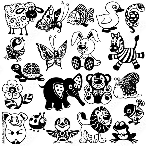 set with black white pictures for children #55422671