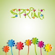 Spring theme with paper flowers and butterfly - vector