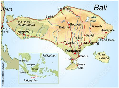 Landkarte Von Bali Indonesien Buy This Stock Illustration And