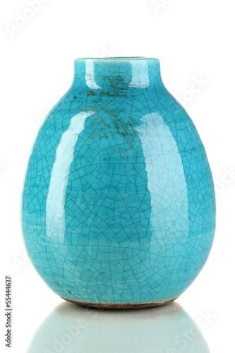 Decorative ceramic vase isolated on white Canvas Print