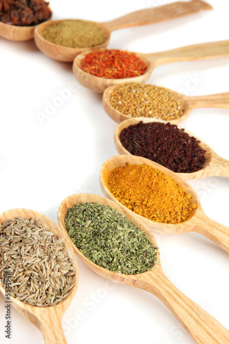 Foto op Aluminium Kruiden 2 Assortment of spices in wooden spoons, isolated on white