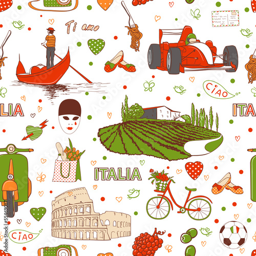 Poster Doodle Italy pattern