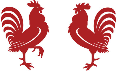 Stylised red rooster