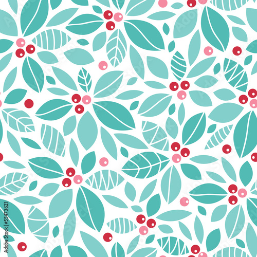 Fototapety, obrazy: Vector Christmas holly berries seamless pattern background with