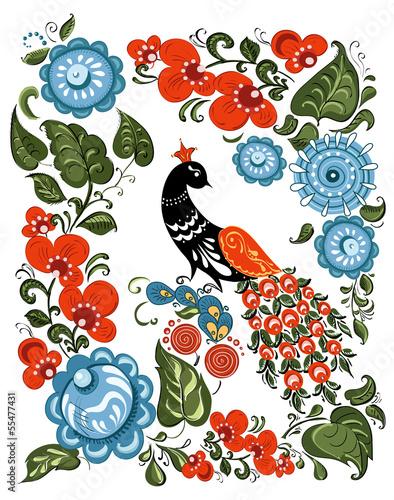 kwiaty-i-ptak-w-rosyjskim-tradycyjnym-stylu-gorodetsky