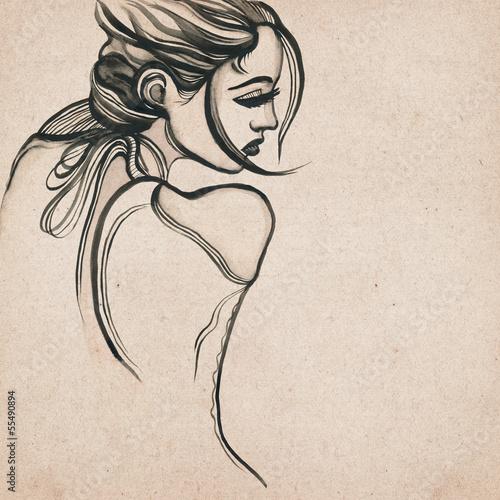 piekny-nowozytny-kobieta-rysunek